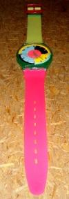 MaxiSwatch NEON Riesenarmbanduhr,80er Wanddeko Tagesmiete - Mieten